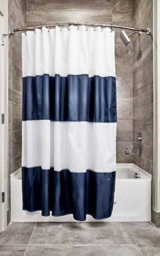 iDesign Zeno Striped Fabric Shower Curtain for Master Guest Kids#039 College Dorm Bathroom 72quot x 72quot  Navy Blue and White