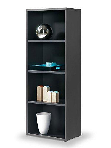 Regal schwarz, Click System: Keine Schrauben und Dübel, Bücherregal schwarz, 3 EB