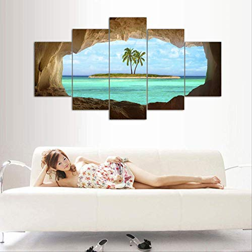 DGGDVP 5 Pcs Azure Ocean Island Palmier Cocotier Paysage Marin Accueil Mur Décor Toile Photo Art HD Impression Peinture sur Toile Oeuvres Taille 2 avec Cadre