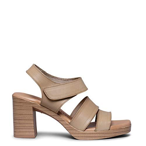 Zapatos miMaO. Zapatos Piel Hechos EN ESPAÑA. Sandalia Plataforma Mujer Tacón Imitación Madera. Sandalia Plantilla Acolchada Ultra Confort Gel