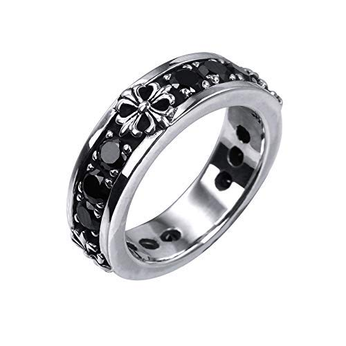 Rock&Ride Crucifix Obsidian Rings 925 Sterling Silver Handmade Old Craft Ring Black