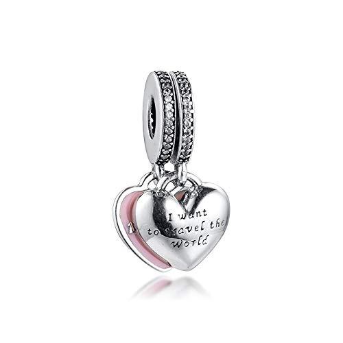 Diy Fits For Original Pandora Bracelets 925 Sterling Silver Fit Pandora Bracelet Beads Travel Together Forever Heart Dangle Charms Jewelry Making