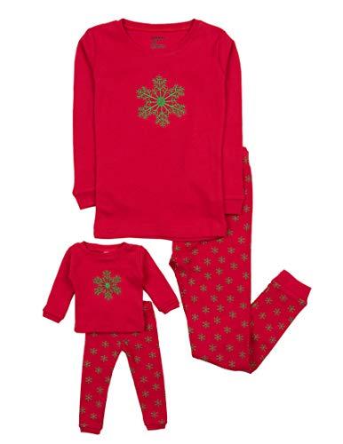 Leveret Kids & Toddler Pajamas Matching Doll & Girls Pajamas 100% Cotton Christmas Pjs Set (2-14 Years) Fits American Girl (8 Years, Snowflake)