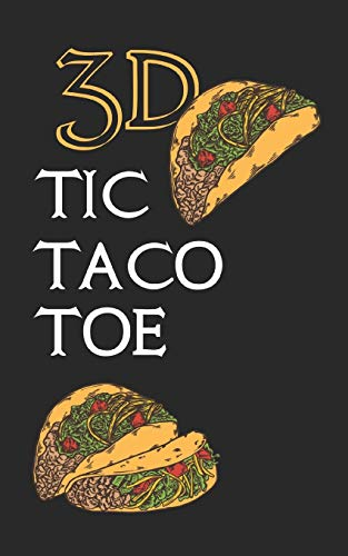 3D TIC TACO TOE: 180 Blank Game Grids Gift Book Taco Motif Convenient Glove Compartment & Purse Size With Instructions