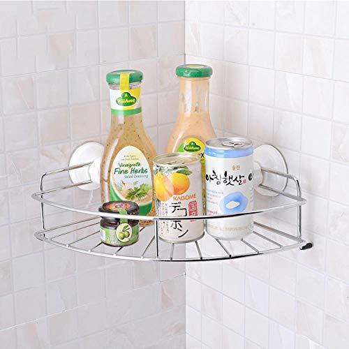 Storage Shelves - Home Storage Fan-Shaped Bathroom Suction Corner Rack with Removable Wall Mount Holder Shelf for Bath Kitchen Organizer