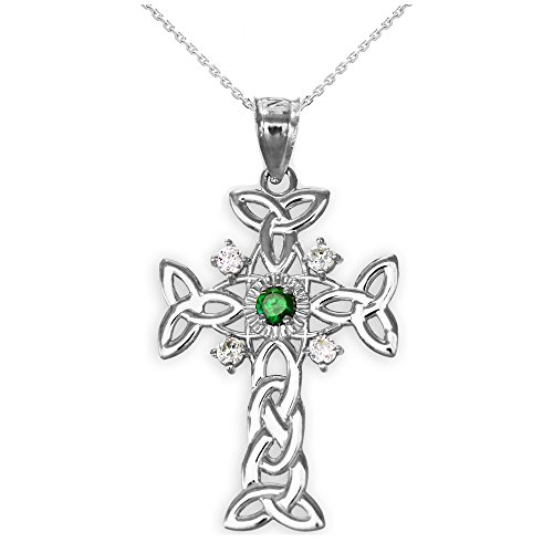Silver Trinity Knot Diamond Celtic Cross Pendant Necklace with Genuine Emerald, 22'