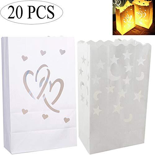 Ouinne 20 stuks papieren zakjes, lichtzakjes papieren lantaarns, witte kaarszakjes, kaarszakjes, zakjes voor bruiloften, verjaardagen, Kerstmis decoraties