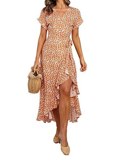 HenzWorld Mujeres Cuello en V Amarillo Estampado Floral Vestidos Cruzados Verano de Manga Corta Boho Vestido Informal Señoras Fluidas Irregulares Volantes Playa Vestido a Media Pierna Talla XL