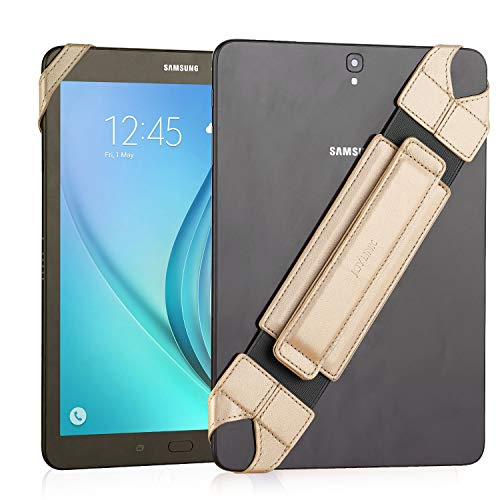 "JOYLINK Universal Tablet Hand Strap Holder, 360 Degrees Swivel Leather Handle Grip with Elastic Belt, Secure & Portable for 10.1"" Tablets (Samsung Asus Acer Google iPad), Gold"