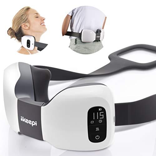 Almohada Masaje shiatsu,ikeepi Cojín Masajeador inalambrico 3D giran para Relajar el Cuello Lumbares - Casa Oficina y viaje,Mini, USB recargable,regalos
