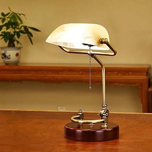 Lámpara de escritorio de banquero administrativo Estilo americano Diseño simple Lámparas de mesa de cristal Sombra antigua Brasera de latón Sala de estar Balcón Restaurante Bar Decoración del hogar Il