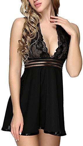 Charmnight Womens Sexy Lingerie Babyoll Nightwear Lace Sleepwear Underwear Set(Black-M)