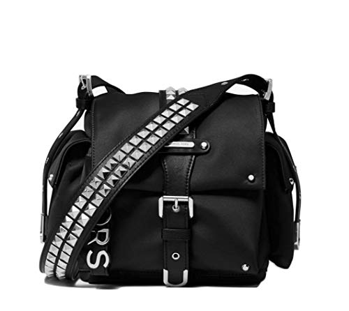 """100% Polyester. Trim: 100% Leather Silver-Tone Hardware. Lining: 100% Polyester Adjustable Strap: 21.5""""-24.5"""". Interior Details: Back Slip Pocket Exterior Details: Back Zip Pocket, Front Zip Pocket, 2 Side Snap Pockets 9.25""""W X 7.5""""H X 7""""D"""