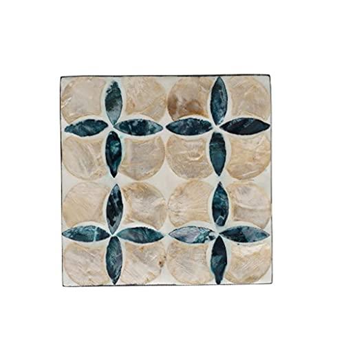 Wohnzimmerzubehör Untersetzer Natürliche Farbe Muscheln Untersetzer Nordischer Stil MDF-Untersetzer Home Square Tischsets Tellermatte Kaffeetasse Matte Geschenk Rutschfeste Untersetzer (Color : B Size