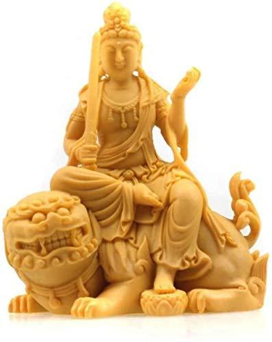 OFJM Statuen Dekoartikel Dekorierter Tisch Bodhisattva Manjushri Bodhisattva Manjushri Harzdekoration Buddha-Statue