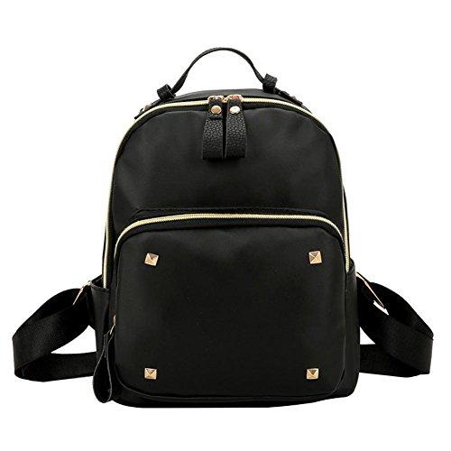 Zaino impermeabile delle donne Rivet nero cuoio College Teenage Girl Bag
