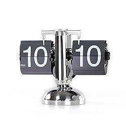 Flip Clock, Home Décor Desk Clock, Scale Style, Retro Auto Flip Down, Vintage Clock, Stainless Steel, Battery Powered, Digital Clocks for Living Room Décor, Desk, Shelf, Bedroom (Silver)