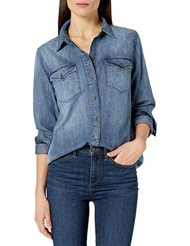 Marca Amazon - Goodthreads Denim Shirt shirts, Desteñido medio, US (EU XS-S)