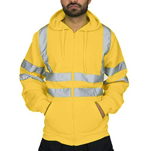 Coloré(TM) Hommes Sweatshirt Travaux Routiers Haute Visibilité Arrêtez-Vous Manche Longue Sweat à Capuche Tops Blouse (M, Jaune)