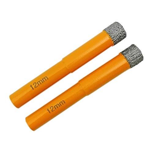 Wohren 2ST Durchmesser 12mm Vaccum Gelötete Diamant-Bohrer Rundschafttrockenbohren for Steinsteinbohrer Werkzeug (Color : Orange, Size : 12mm)