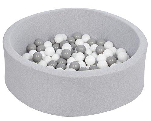 Velinda Bällebad Ballpool Kugelbad Bällchenbad Bällchenpool Kinder Pool mit 150 Bällen (Farbe der Bälle: weiß,grau)