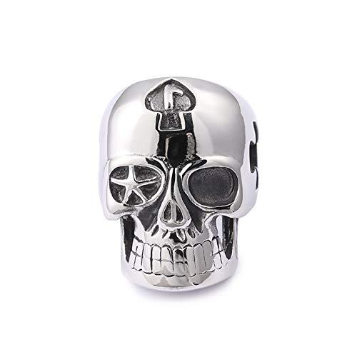 European And American Retro Cross Skull Ring Men's Titanium Steel Hollow Ring Creative Ghost Head Jewelry,12