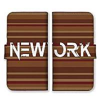 AQUOS R6 (docomo SH-51B / SoftBank) 手帳型 スマホ ケース カバー 横縞 NEW YORK ブラウン スマホケース スマホカバー アクオスR6 AQUOSR6 アクオスアール6 16387