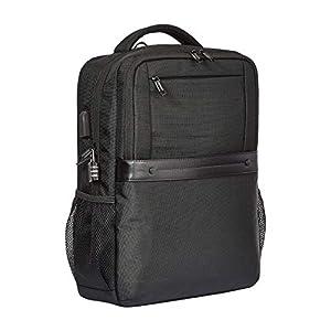 41oYlD87DCL. SS300  - AmazonBasics - Mochila negra antirrobo premium con cierre enrollable
