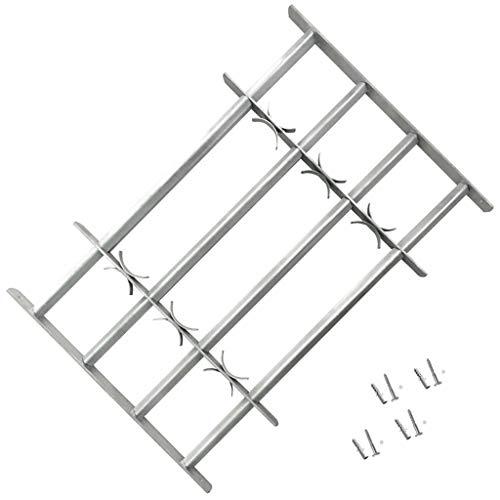 Reja de Seguridad de Ventana Ajustable 440-740 mm, Reja de Acero galvanizado con 4 Travesaños para Ventanas 500-650 mm
