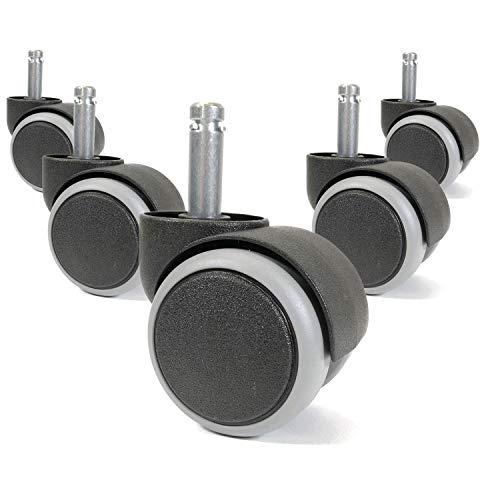 OfficeWorld Range Bürostuhl Hartbodenrollen 10x32 mm, Drehstuhlrollen mit weicher Laufoberfläche für Laminat Parkett Fliesen, Gebremst, Kratzerfreie Sicherheits-Doppelrollen