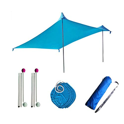 KEIBODETRD Grande Beach Tent, Lightweight Sun Protection Tents with Sand Bag Anchors, 4 Free Pegs UPF50 + UV Large Portable Canopy for Outdoor Camping