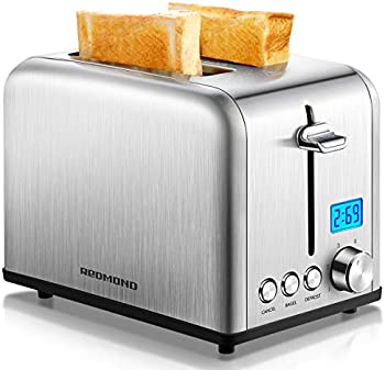 Redmond Stainless Steel 2 Slice Toaster with LCD Countdown Timer