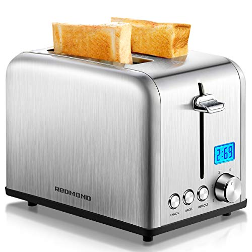 REDMOND Toaster 2 Slice, Stainless Steel Wide Slot Toaster with LCD Countdown Timer, Bagel, Defrost, Cancel Functions, 6-Shade Control, Silver, ST029