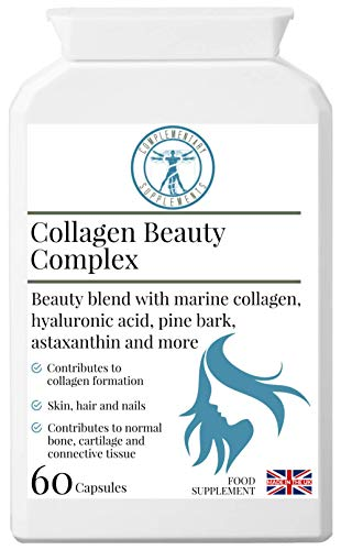 Complementary Supplements | Collagen Beauty Complex | Hair Skin & Nails Formula | Hyaluronic Acid | Marine Collagen | Biotin | Astaxanthin | Vitamins & Minerals | 60 Capsules