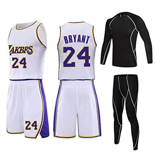 Basketbal Panty Trainingsset, wit, 24 Basketbal Fan Jersey Mannen en Vrouwen, Ademend Geborduurd Basketbal Kleding Retro XX-Large Kleur