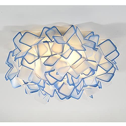 LSWGG Lámpara De Techo De Flores Acrílicas para Dormitorio LED Iluminación Cálida Y Romántica Redonda Sala De Estar Minimalista Moderna, Lámparas Creativas,Azul