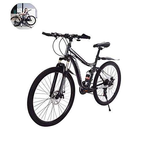 26in MTB Carbon Steel Mountain Bike 21 Speed Bicycle Full Suspension Lightweight Complete Bike for Mens/Womens Bikes (Black - 26in MTB)