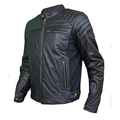 Prexport Giubbino Giacca Pelle Moto Vintage Nero GHOST Protezioni CE Rimovibili (NERO, 50)