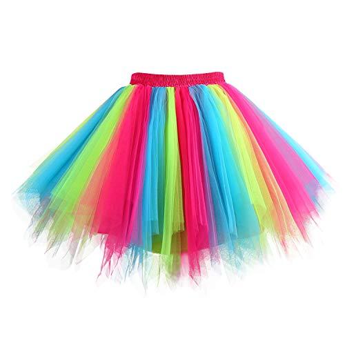 Hanpceirs Women 1950s Short Vintage Tulle Petticoat Skirt Ballet Bubble Tutu Rainbow XL New