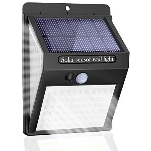Solarlampen für Außen,【Super Helligkeit】Lspcsw 140 LED Solarleuchte mit Bewegungsmelder Solar Wasserdichte Wandleuchte Solar Aussenleuchte Solarlicht für Garten 【270° Dreiseitige Beleuchtung-1200mAh】