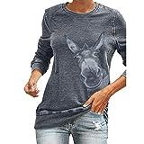 E-Scenery Women's Giraffe Fun Pattern Printed Long-Sleeved Slim Fit Pullover Blouse Tops