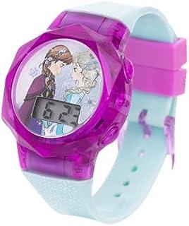 ساعة يد للبنات بشاشة عرض بمينا رقمي وإضاءة ليد وامضة مزينة برسمة فروزن من ديزني - طراز SA7178 فروزن- سي