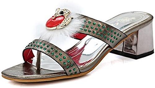ZHZNVX Chaussures Femmes de Confort Nouveauté Printemps été PU Sandales Slingback Talon Orteil Ouvert Plume Strass pour Mariage,Soirée,Nous,gris11.5 EU43 UK9.5 CN45