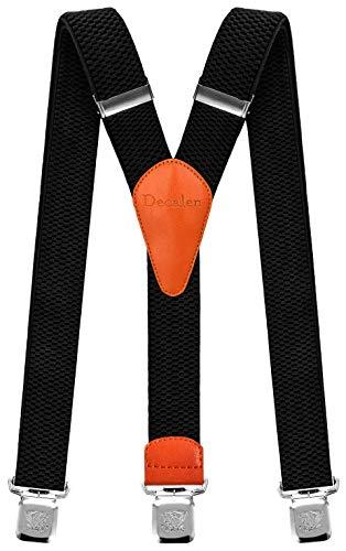 Decalen Hosenträger für Herren breit extra starken Clips Y Form Lang Eine Größe Passt Alle Männer und Damen Verschiedenen Farben (Schwarz 1)