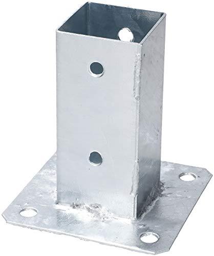 KOTARBAU® Aufschraubhülse 50 x 50 mm Vierkantholzpfosten Pfosten Bodenhülse Zaunträger Hülse Feuerverzinkt Bodenplatte Pfostenträger Anker