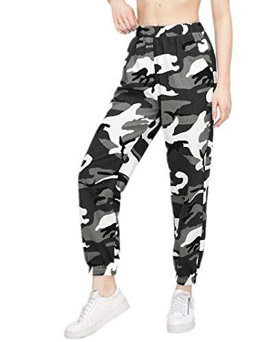Loalirando Pantaloni Donna Lino Vita Alta Pantaloni Militare Donna Sportivi Verde Nero Rosa S-XXL