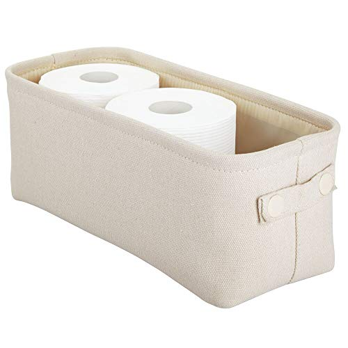 mDesign Soft Cotton Fabric Bathroom Storage Bin with Attached Handles - Organizer for Towels, Toilet Paper Rolls - for Back of Toilet, Cabinets, and Vanities - Cream/Beige