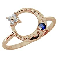 [プレジュール]星 月 モチーフ サファイアリング K18 ピンクゴールド 指輪 リングサイズ14号