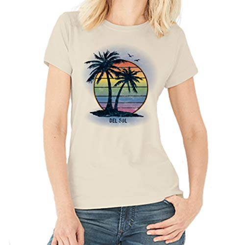 Del Sol Women s Boyfriend Tee - Island Palm Sunset, Natural T-Shirt - Changes from Black to Vibrant Colors in The Sun - 100% Combed, Ring-Spun Cotton - Size 2XL