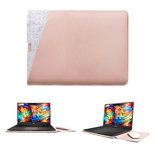 """WALNEW 13-inch Sleeve for Dell XPS 13 7390/9300, Protective Dell Sleeve Case Dual Pocket for 13"""" Dell XPS New 13"""" Dell XPS 13"""" 2-1 Cover Bag, Pink"""